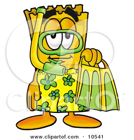 Clipart Picture of a Yellow Admission Ticket Mascot Cartoon Character in Green and Yellow Snorkel Gear by Toons4Biz