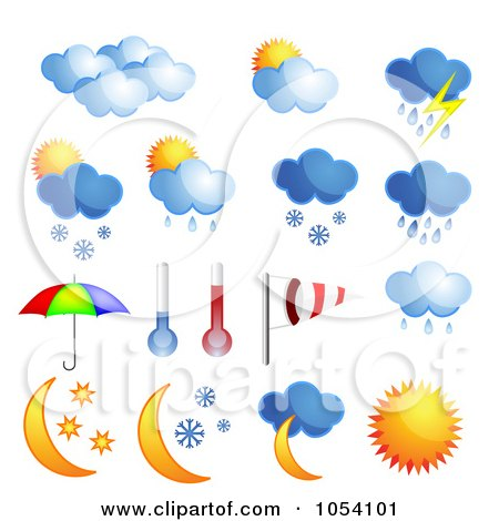 Royalty-Free Vector Clip Art Illustration of a Digital Collage Of 3d Weather Icons by vectorace