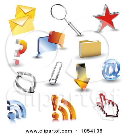 Royalty-Free Vector Clip Art Illustration of a Digital Collage Of 3d Web Browser Icons by vectorace