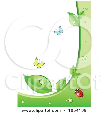 Royalty-Free Vector Clip Art Illustration of an Ecology Background Of Butterflies And A Ladybug With Wet Green Leaves by vectorace