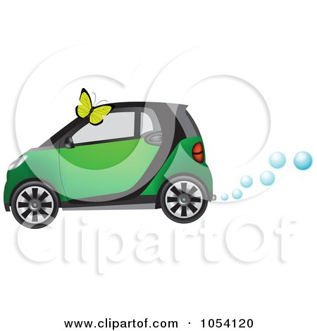 Royalty-Free Vector Clip Art Illustration of a Butterfly And A Green Hydrogen Car by vectorace
