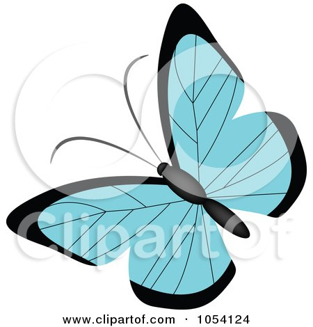 Royalty-Free Vector Clip Art Illustration of a Blue And Black Butterfly by vectorace