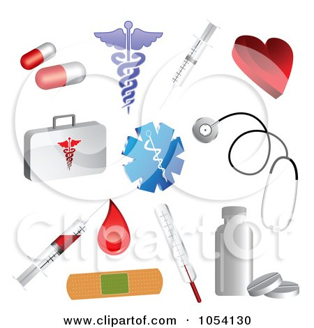 Royalty-Free Vector Clip Art Illustration of a Digital Collage Of 3d Medical Icons by vectorace