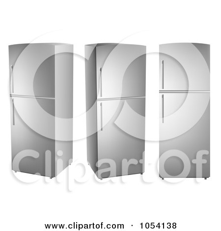 Royalty-Free Vector Clip Art Illustration of a Digital Collage Of 3d Stainless Steel Refrigerators by vectorace