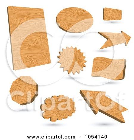 Royalty-Free Vector Clip Art Illustration of a Digital Collage Of 3d Wood Signs by vectorace