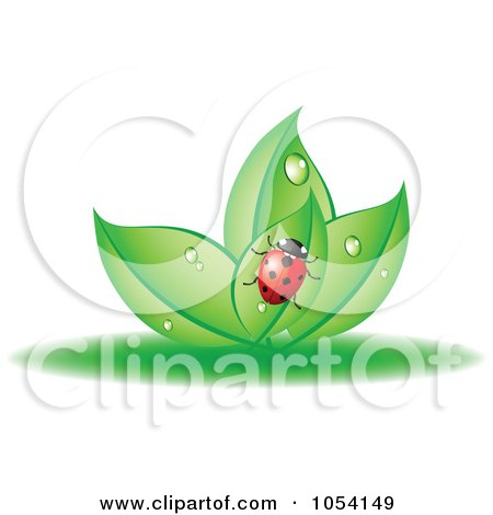 Royalty-Free Vector Clip Art Illustration of a Ladybug On Dewy Leaves by vectorace
