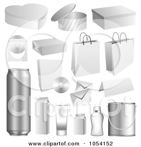 Royalty-Free Vector Clip Art Illustration of a Digital Collage Of 3d Packaging Items by vectorace