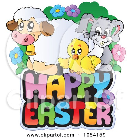 Royalty-Free Vector Clip Art Illustration of Spring Animals On A Happy Easter Greeting by visekart
