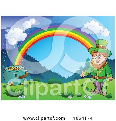 Royalty-Free Vector Clip Art Illustration of a Background Of A Leprechaun And Pot Of Gold Under A Rainbow by visekart