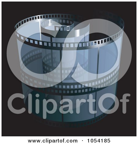 Royalty-Free Vector Clip Art Illustration of a Blue Film Strip On Black by dero