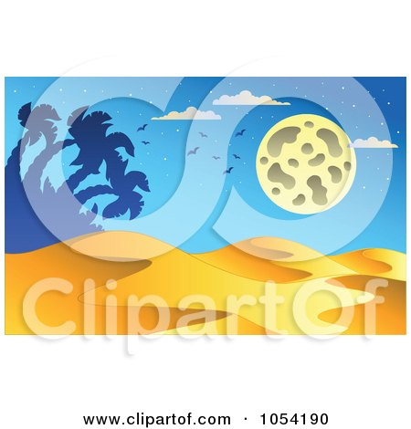 Royalty-Free Vector Clip Art Illustration of a Desert Landscape At Night by visekart