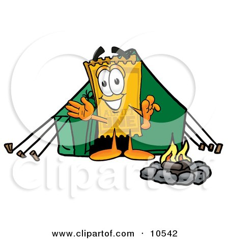 Yellow Admission Ticket Mascot Cartoon Character Camping With a Tent and Fire Posters, Art Prints