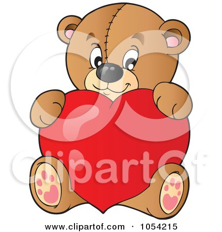 Royalty-Free Vector Clip Art Illustration of a Teddy Bear With A Heart by visekart