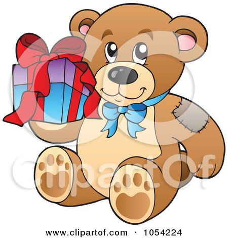 Royalty-Free Vector Clip Art Illustration of a Birthday Teddy Bear Holding A Present by visekart