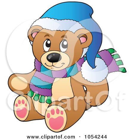 Royalty-Free Vector Clip Art Illustration of a Winter Teddy Bear by visekart