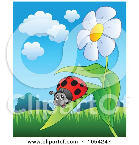 Royalty-Free Vector Clip Art Illustration of a Ladybug On A Daisy Leaf by visekart