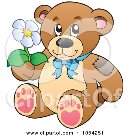 Royalty-Free Vector Clip Art Illustration of a Teddy Bear Holding A Daisy by visekart
