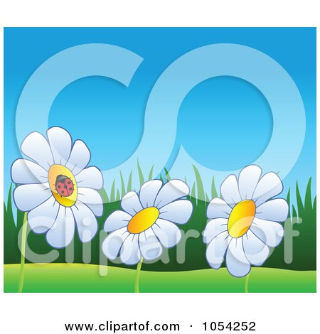 Royalty-Free Vector Clip Art Illustration of a Spring Background Of A Ladybug On Daisies by visekart