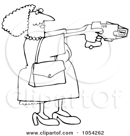 Royalty-Free Vector Clip Art Illustration of a Black And White Lady Using A Taser Outline by djart