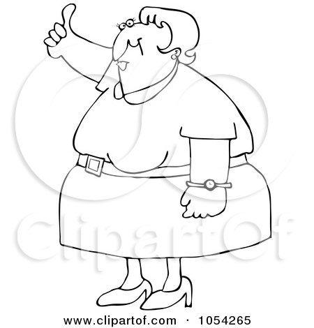 Royalty-Free Vector Clip Art Illustration of a Black And White Woman Holding A Thumb Up Outline by djart