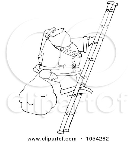 Royalty-Free Vector Clip Art Illustration of a Black And White Santa Climbing A Ladder Outline by djart