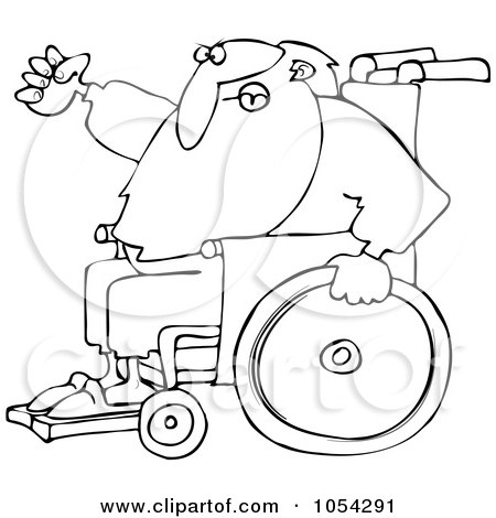 Royalty-Free Vector Clip Art Illustration of a Black And White Santa In A Wheelchair Outline by djart