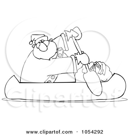 Royalty-Free Vector Clip Art Illustration of a Black And White Santa Canoeing Outline by djart