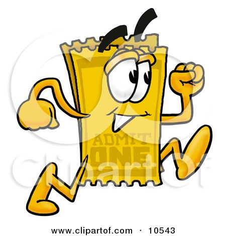 Clipart Picture of a Yellow Admission Ticket Mascot Cartoon Character Running by Toons4Biz