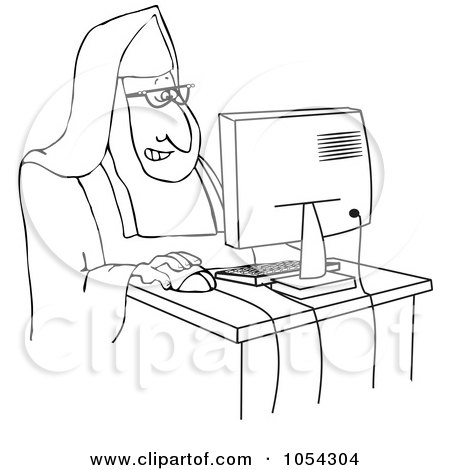 Royalty-Free Vector Clip Art Illustration of a Black And White Nun Using A Computer Outline by djart