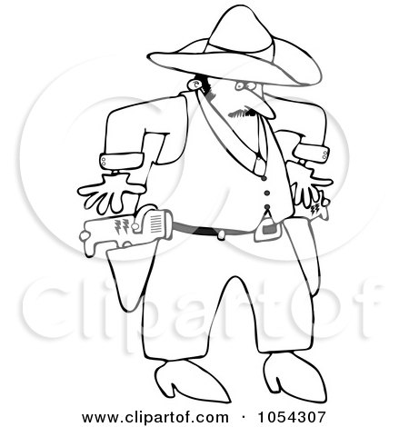 Royalty-Free Vector Clip Art Illustration of a Black And White Cowboy Drawing Tasers Outline by djart