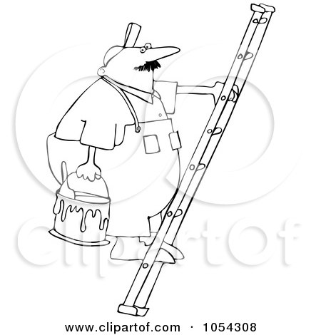Royalty-Free Vector Clip Art Illustration of a Black And White Painter On A Ladder Outline by djart