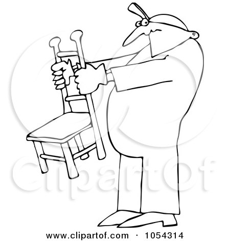 Clipart Furniture Repo Or Delivery Man Carrying A Chair