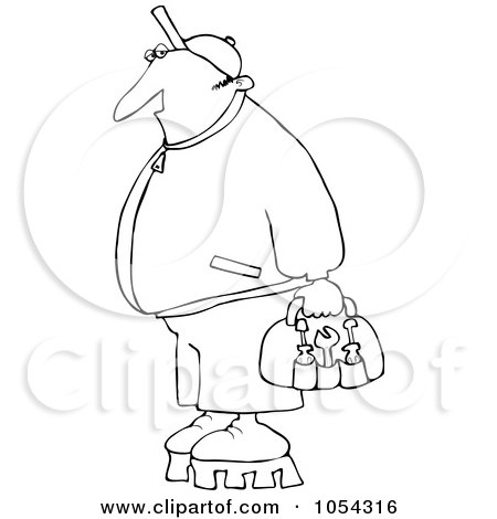 Royalty-Free Vector Clip Art Illustration of a Black And White Worker With Tools Outline by djart
