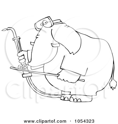 Royalty-Free Vector Clip Art Illustration of a Black And White Welding Elephant Outline by djart