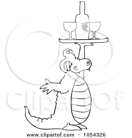 Royalty-Free Vector Clip Art Illustration of a Black And White Alligator Serving Wine by djart