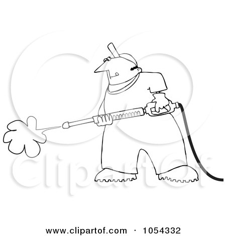 Royalty-Free Vector Clip Art Illustration of a Black And White Pressure Washing Man Outline by djart