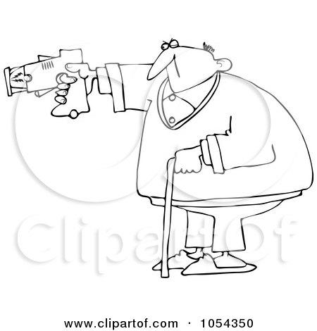 Royalty-Free Vector Clip Art Illustration of a Black And White Old Man Using A Taser Outline by djart