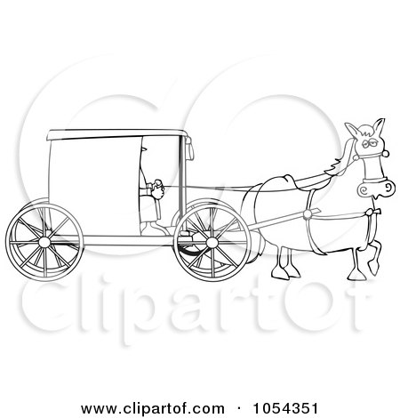 black and white amish buggy outline