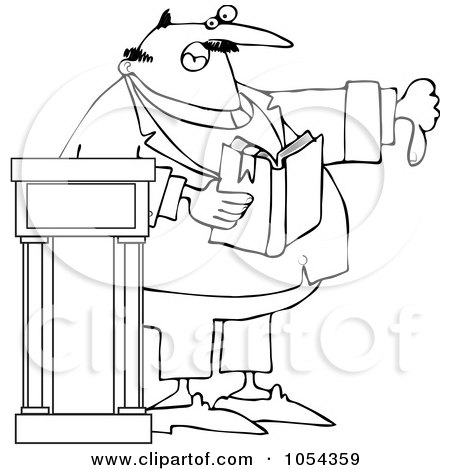 Royalty-Free Vector Clip Art Illustration of a Black And White Preacher Discussing Sins Outline by djart