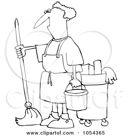 Royalty-Free Vector Clip Art Illustration of a Black And White Man Mopping Outline by djart