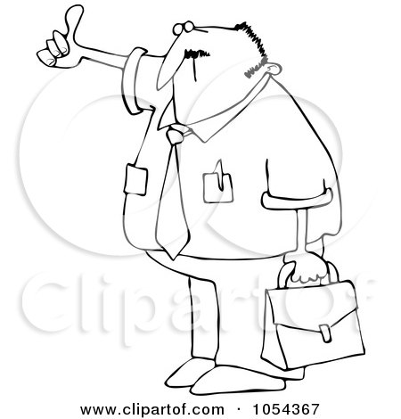 Royalty-Free Vector Clip Art Illustration of a Black And White Hitchhiking Businessman Outline by djart