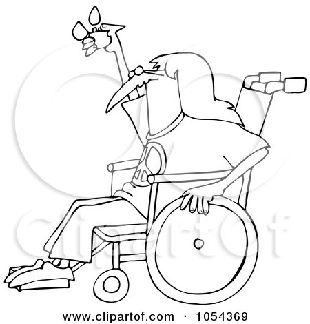 Royalty-Free Vector Clip Art Illustration of a Black And White Hippie In A Wheelchair Outline by djart