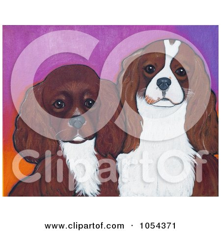 Royalty-Free Clip Art Illustration of a Painting Of Ruby And Blenheim Cavalier King Charles Spaniels by Maria Bell