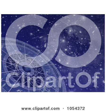 Royalty-Free Clip Art Illustration of a Zodiac Circle Against Stars by Michael Schmeling