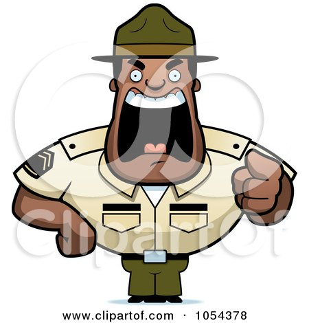 Royalty-Free Vector Clip Art Illustration of a Tough Black Drill Sargent Yelling by Cory Thoman