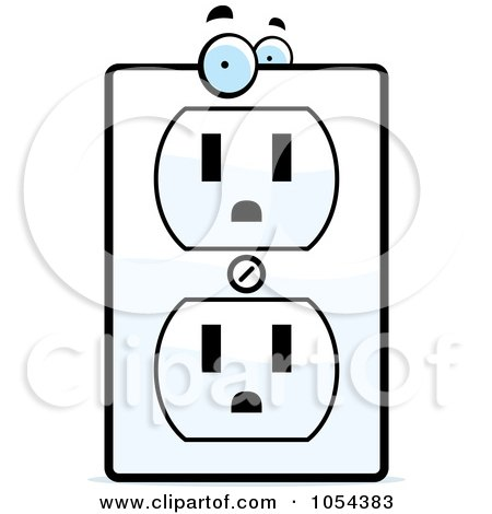 Royalty-Free Vector Clip Art Illustration of an Electrical Outlet Character by Cory Thoman