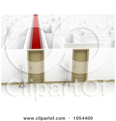Royalty-Free Clip Art Illustration of 3d Doors Opening To Easy And Difficult Paths Through A Maze by stockillustrations
