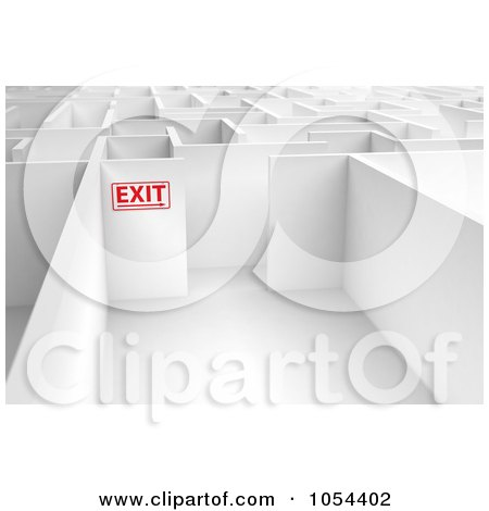 Royalty-Free Clip Art Illustration of a 3d Exit Sign In A Maze by stockillustrations