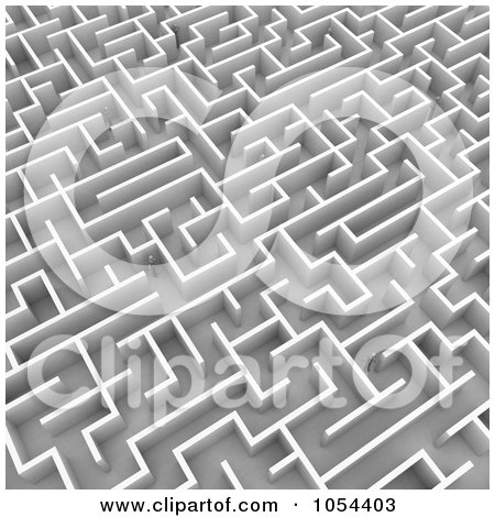 Royalty-Free Clip Art Illustration of 3d Mannequins Lost In A Maze by stockillustrations