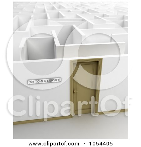 Royalty-Free Clip Art Illustration of a 3d Customer Service Door Leading Into A Maze by stockillustrations
